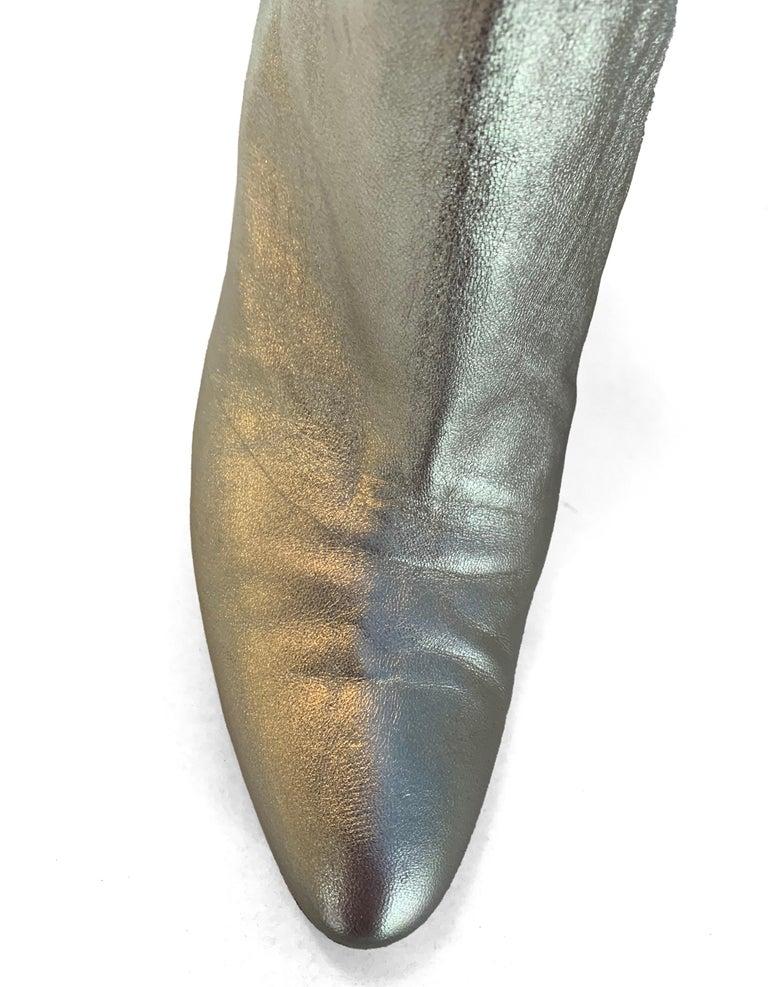 Manolo Blahnik Gold Leather Brusta Stacked Heel Booties sz 37 rt. $995 For Sale 3
