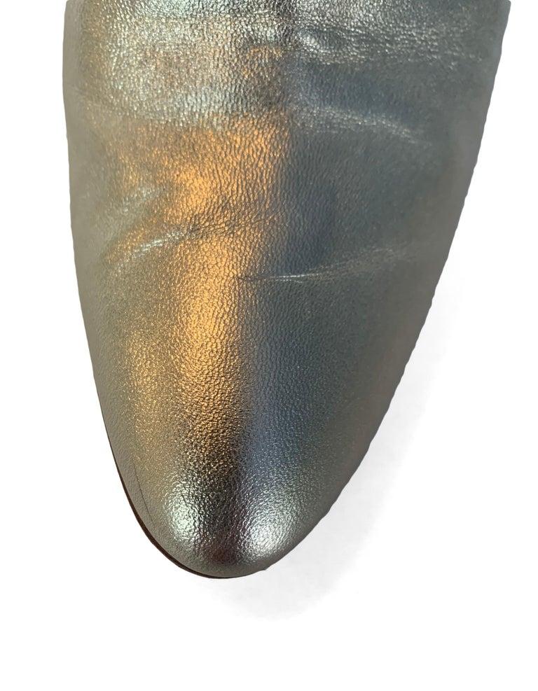 Manolo Blahnik Gold Leather Brusta Stacked Heel Booties sz 37 rt. $995 For Sale 4