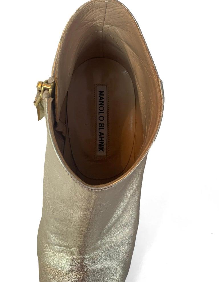 Manolo Blahnik Gold Leather Brusta Stacked Heel Booties sz 37 rt. $995 For Sale 5