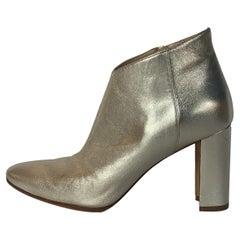 Manolo Blahnik Gold Leather Brusta Stacked Heel Booties sz 37 rt. $995