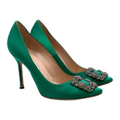 Manolo Blahnik Green Hangisi Satin Jewel Buckle Pumps - Size 38.5