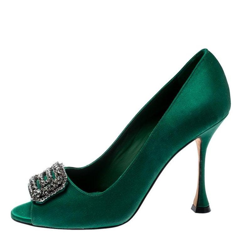 29f674ae43f Manolo Blahnik Green Satin Crystal Embellished Peep Toe Pumps Size 38.5