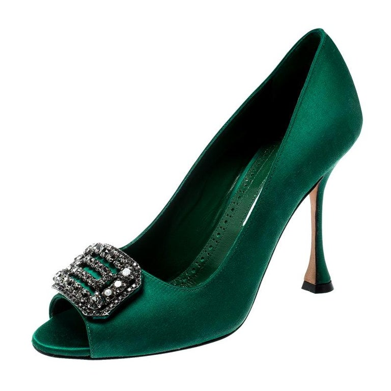 Manolo Blahnik green satin crystal-embellished peep-toe pumps, offered by The Luxury Closet