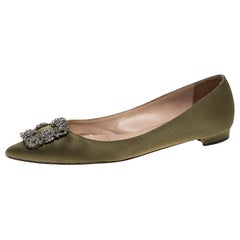 Manolo Blahnik Green Satin Hangisi Crystal Embellished Ballet Flats Size 38