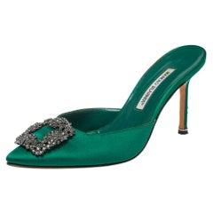 Manolo Blahnik Green Satin Hangisi Mules Sandal Size 39