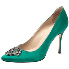 Manolo Blahnik Green Satin Okkaava Emerald Pumps Size 40