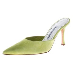 Manolo Blahnik Green Suede Carolyne Pointed Toe Mules Size 39