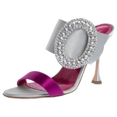 Manolo Blahnik Grey/Purple Satin Fibiona Crystal Embellished Sandals Size 38.5
