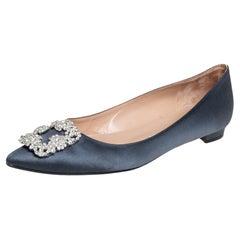 Manolo Blahnik Grey Satin Hangisi Ballet Flats Size 39.5