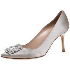 Manolo Blahnik Grey Satin Hangisi Crystal Embellished Pumps Size 38