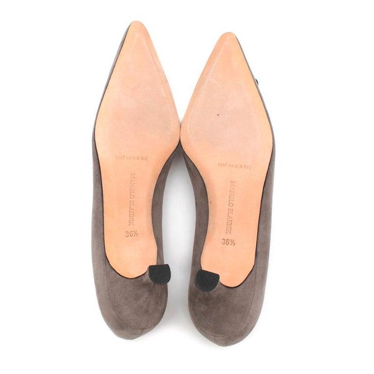Manolo Blahnik Grey Suede Kitten Heel Pumps  36.5 For Sale 1