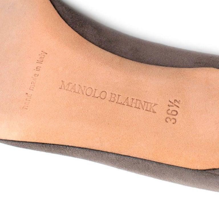 Manolo Blahnik Grey Suede Kitten Heel Pumps  36.5 For Sale 2