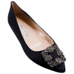 Manolo Blahnik Hangisi Black Crystal Buckle Satin Flats