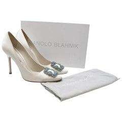 Manolo Blahnik Hangisi Bride White Satin Jewel Buckle Pumps 39