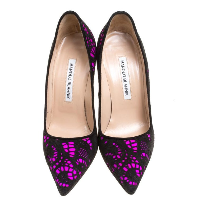 07f182329f Black Manolo Blahnik Hot Pink Satin With Laser Cut Suede Bborli Pointed Toe  Pumps Size For