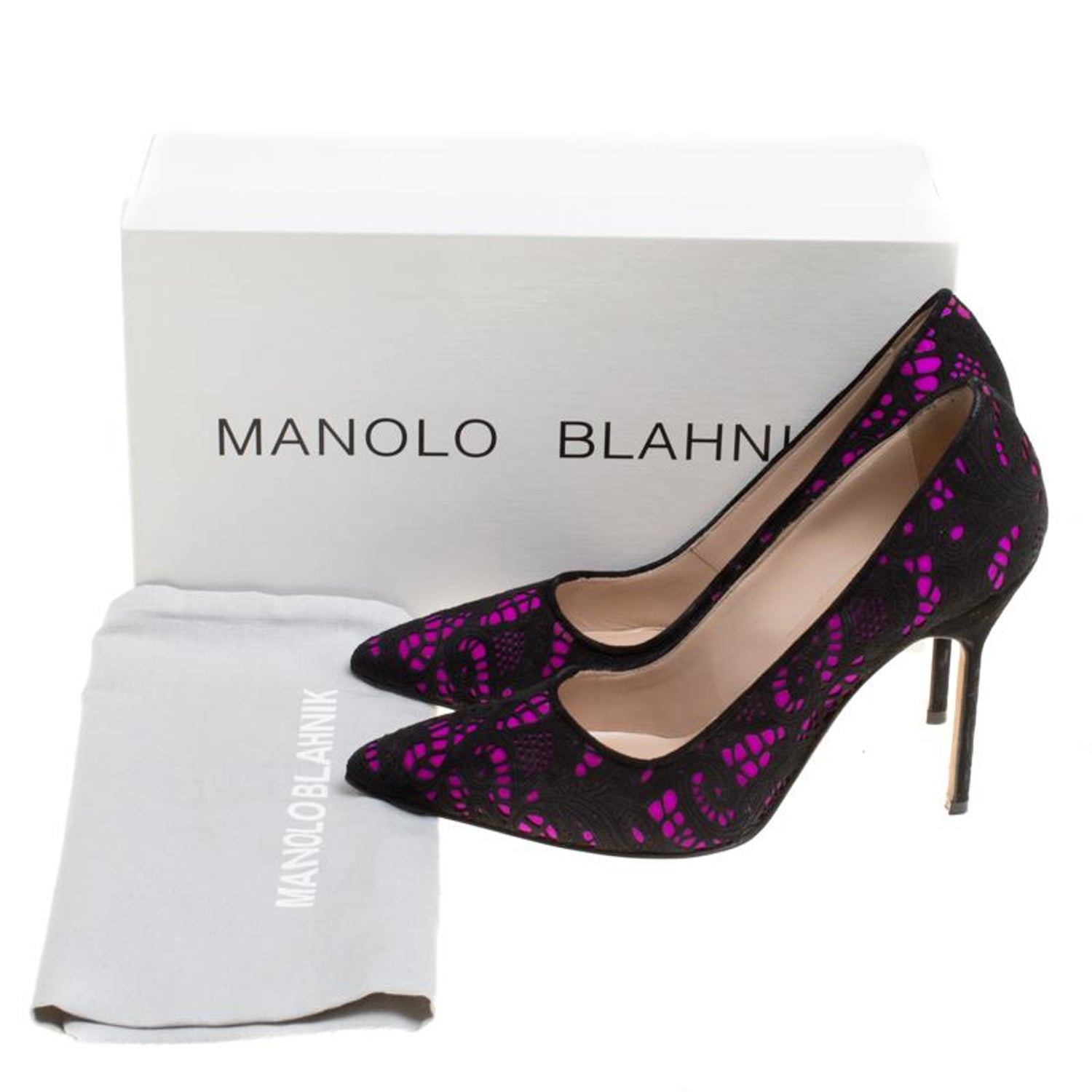 ff32fa3e30 Manolo Blahnik Hot Pink Satin With Laser Cut Suede Bborli Pointed Toe Pumps  Size at 1stdibs