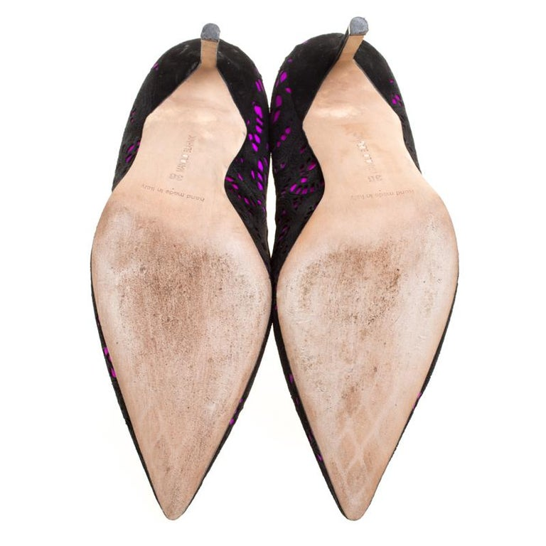 96ac212b80 Manolo Blahnik Hot Pink Satin With Laser Cut Suede Bborli Pointed Toe Pumps  Size For Sale