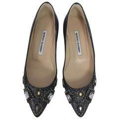 Manolo Blahnik Jewel Silver Metallic Pointed Toe Ballet Flats 36 1/2