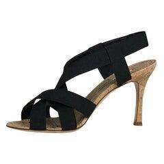 Manolo Blahnik Lasti Criscross Black Strap Gold Fleck Cork High Heels 37