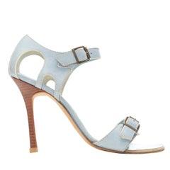 MANOLO BLAHNIK light blue leather buckle dual strap high heel sandals EU36.5