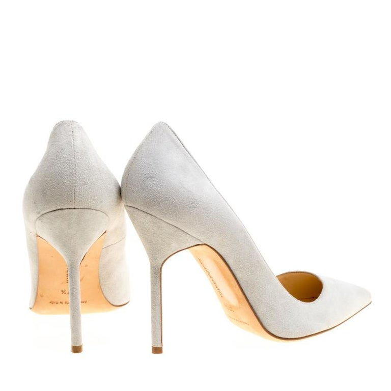 6db819bedf Women's Manolo Blahnik Light Grey Suede BB Pointed Toe Pumps Size 37.5 For  Sale