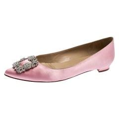 Manolo Blahnik Light Pink Satin Hangisi Ballet Flats Size 39