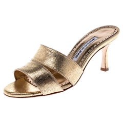Manolo Blahnik Metallic Gold Leather Lacopo Open Toe Sandals Size 35