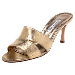 Manolo Blahnik Metallic Gold Leather Lacopo Open Toe Sandals Size 40.5