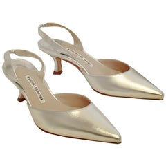 Manolo Blahnik Metallic Silver Tone Carolyne Pointed Toe