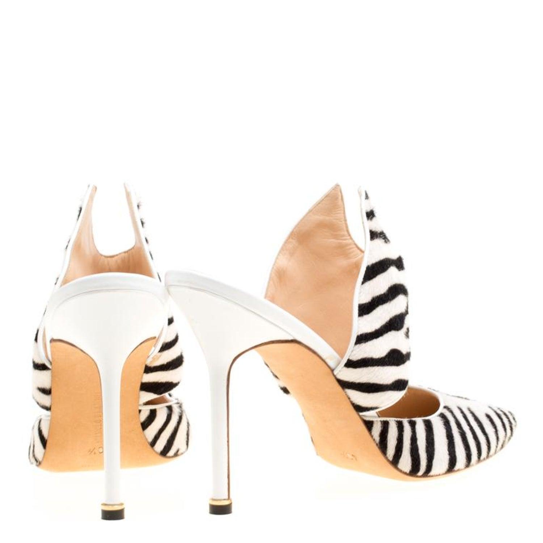 0e5d657740d Manolo Blahnik Monochrome Zebra Print Calf Hair Pointed Toe Mules Size 40.5