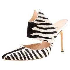 Manolo Blahnik Monochrome Zebra Print Calf Hair Pointed Toe Mules Size 40.5