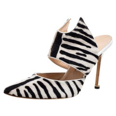 Manolo Blahnik Monochrome Zebra Print Pony Hair Pointed Toe Mules Size 39.5