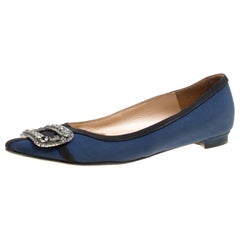 Manolo Blahnik Navy Blue Satin Crystal Embellished Pointed Toe Flats Size 36.5