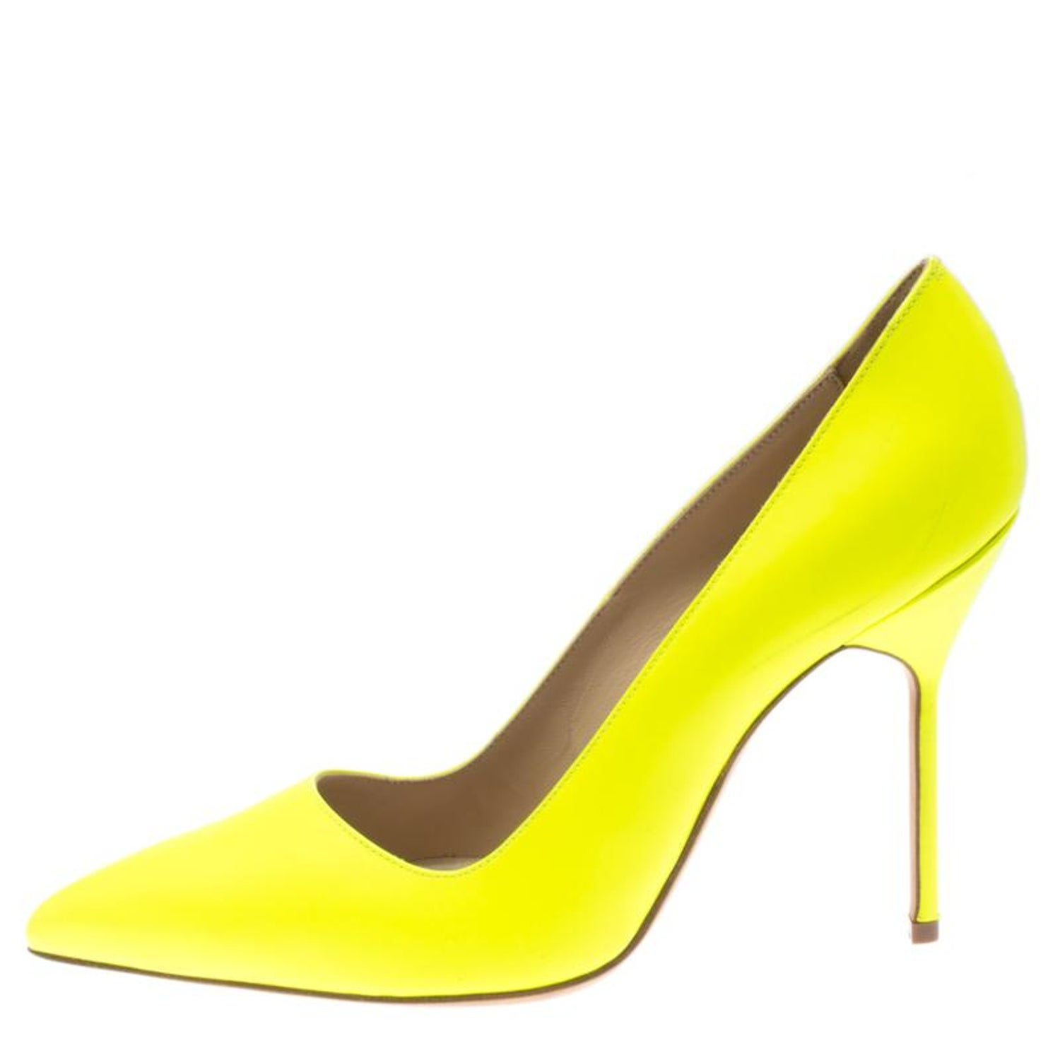 4f77acf37b2 Manolo Blahnik Neon Yellow Leather BB Pointed Toe Pumps Size 36.5