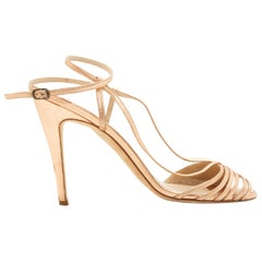 Manolo Blahnik Nude & Copper Leather Strappy Sandals