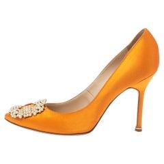 Manolo Blahnik Orange Satin Pearl Embellished Hangisi Pumps Size 37.5