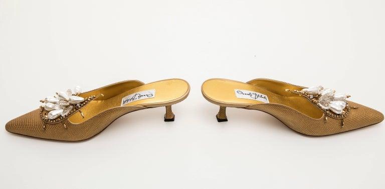 Manolo Blahnik Orientalia Pale Gold Metallic Lizard Skin Mules, Circa 1998 For Sale 1