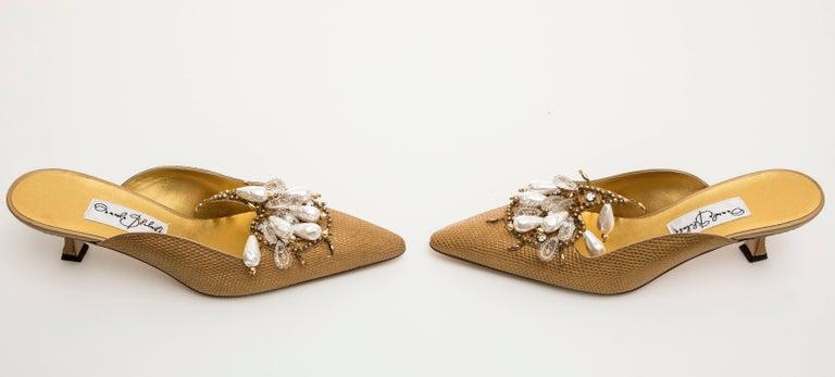 Manolo Blahnik Orientalia Pale Gold Metallic Lizard Skin Mules, Circa 1998 For Sale 2