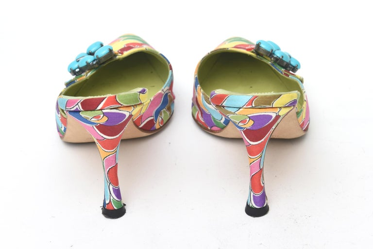 Manolo Blahnik Pair of Silk Printed Mules With Turquoise Rhinestone  In Good Condition For Sale In North Miami, FL
