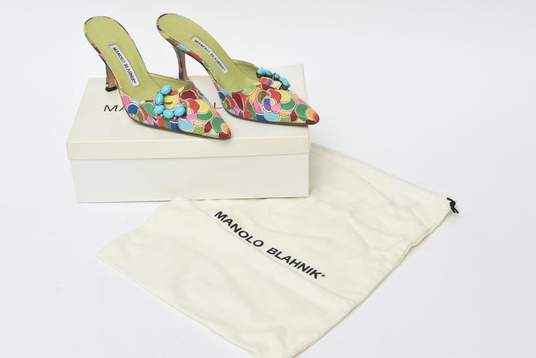 Manolo Blahnik Pair of Silk Printed Mules With Turquoise Rhinestone  For Sale 3