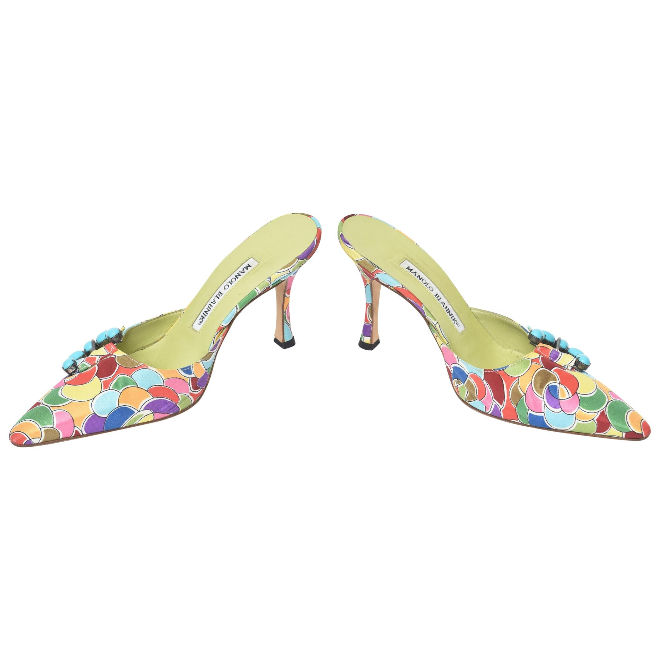 8b0e583588 Manolo Blahnik Grey Floral Brocade Pleat Detail Pointed Toe Mules Size 40.5  For Sale at 1stdibs