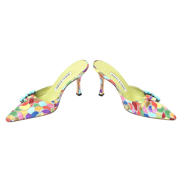 Manolo Blahnik Pair of Silk Printed Mules With Turquoise Rhinestone  For Sale