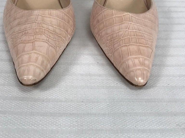Manolo Blahnik Pale Pink Alligator Sling Back High Heel Pumps 40 For Sale 1