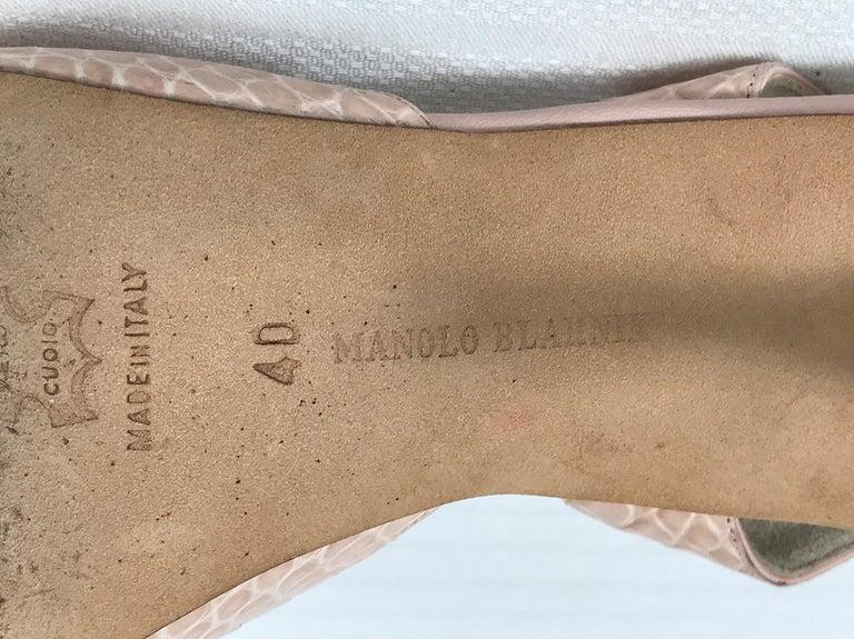 Manolo Blahnik Pale Pink Alligator Sling Back High Heel Pumps 40 For Sale 3