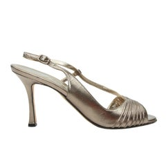 Manolo Blahnik Pewter Metallic Slingback Sandals