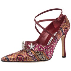 Manolo Blahnik Pink/Blue Brocade Fabric Crystal Pointed Toe Pumps Size 37.5