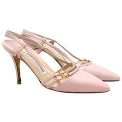 Manolo Blahnik Pink Buckle Detail Slingback Sandals  SIZE 36.5