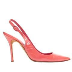 MANOLO BLAHNIK pink patent  point toe sling back buckle strap pump EU37.5