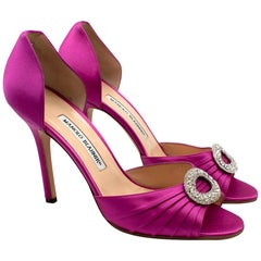 Manolo Blahnik Pink Peep-toe Satin Crystal Embellished Pumps 39.5