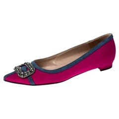 Manolo Blahnik Pink Satin Gotrian Crystal Embellished Pointed Toe Flats Size 39
